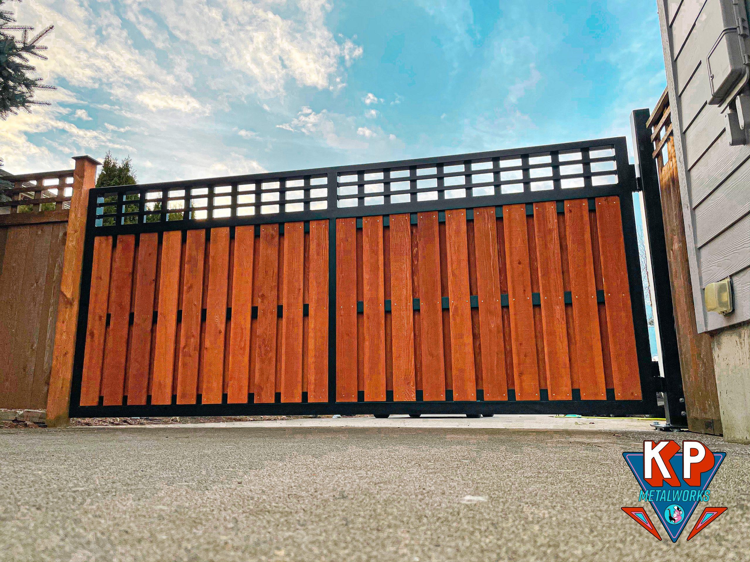 Mixed media aluminum and cedar residential gate